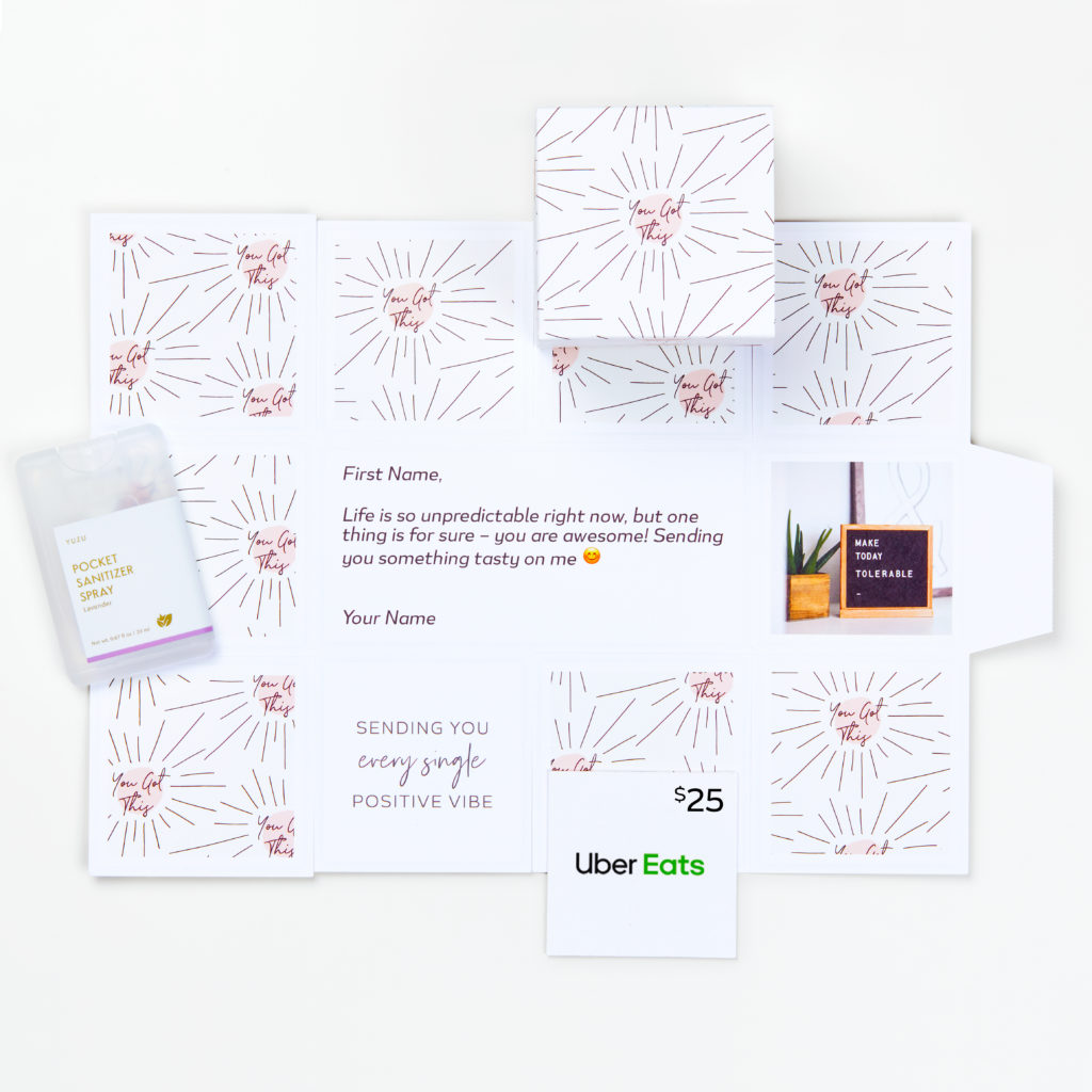 """Image of """"Safe Delivered Meal"""" Merch Bundle: Greetabl gift with UberEats gift card and Hand Sanitizer."""